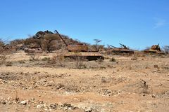 Wrecked tanks T - 34 in the Somali town of Borama Stock Photo