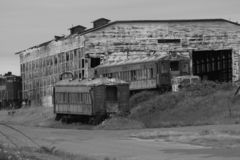 Wrecked train cars, black and white royalty free stock photography