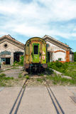 Wrecked train at old depot Royalty Free Stock Image