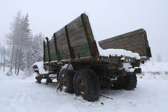 Wrecked truck. In the Ukrainian mountains stock photos