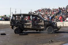 Wrecked truck during the demolition derby Royalty Free Stock Images