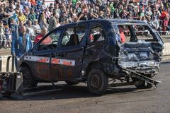 Wrecked truck after demolition derby Stock Photos