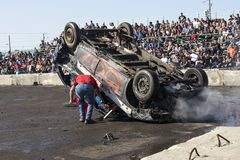 Wrecked truck on the top during the demolition derby Royalty Free Stock Image