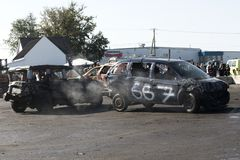Wrecked trucks during demolition derby Stock Photos