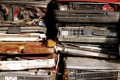 Wrecked vehicle stack. A stack of rusting wrecked vehicles waiting to be scrapped Royalty Free Stock Photos