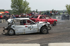 Demolition derby. Napierville demolition derby, July 12, 2015, picture of wrecked cars during the demolition derby Stock Photos