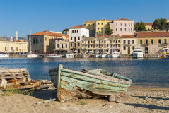 Wrecked wooden boat Chania Stock Image