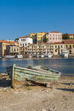 Wrecked wooden boat Chania Royalty Free Stock Photo