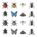 Wrecker, darmozjad, natura, motyl Insekt ustawiać inkasowe ikony w kreskówce, monochromu symbolu stylowy wektorowy zapas ilustracja wektor