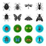 Wrecker, parasiet, aard, vlinder De insecten plaatsen inzamelingspictogrammen in zwarte, flet de voorraadillustratie van het stij Royalty-vrije Stock Afbeelding