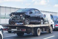 Wrecker transports broken car Royalty Free Stock Photography