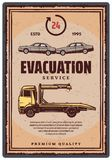 Evacuation service retro poster Royalty Free Stock Images