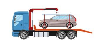 Wreckervrachtwagen met geëvacueerde auto De slepende dienst van de vrachtwagenevacuatie Royalty-vrije Stock Foto's
