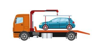 Wreckervrachtwagen met geëvacueerde auto De slepende dienst van de vrachtwagenevacuatie Stock Afbeeldingen