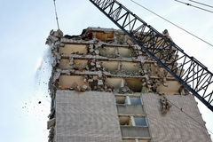 Wrecking Ball. Demolition of the structure of building Stock Photos