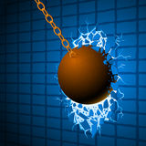 The Wrecking ball & blue wall Stock Photos