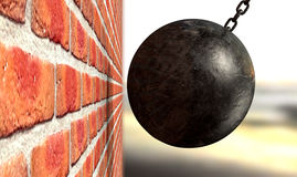 Wrecking Ball Hitting Wall. A regular metal wrecking ball attached to a chain hitting and breaking a face brick royalty free illustration