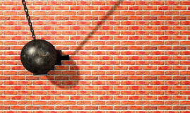 Wrecking Ball Hitting Wall Royalty Free Stock Images
