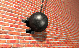 Wrecking Ball Hitting Wall Royalty Free Stock Image