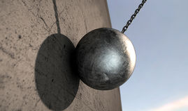 Wrecking Ball Hitting Wall Stock Image
