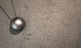 Wrecking Ball Hitting Wall Royalty Free Stock Photos