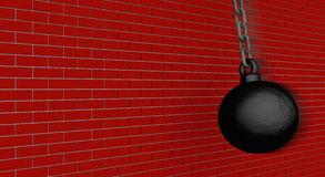 Wrecking ball VS. Wall Stock Photo