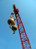 Wrecking Balls with Red Crane Stock Photos