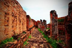 Wrecks of ancient walls and brick floors. royalty free stock images