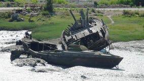 Wrecks in Noirmoutier. Wrecks on the jetty Jacobsen in Noirmoutier Stock Photo