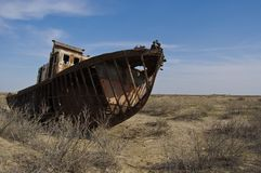 Wrecks of old boats in Aral lake. In Uzbekistan Royalty Free Stock Photos