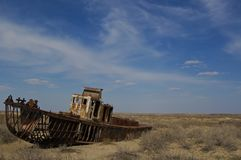 Wrecks of old boats in Aral lake. In Uzbekistan Stock Images