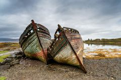 Wrecks at Salen on the Isle of Mull royalty free stock image
