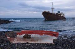 Wrecks on the seashore Royalty Free Stock Photo