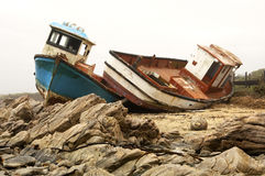 Wrecks of stranded ships. At the rocky coast of the South Atlantic Ocean, South Africa royalty free stock photos