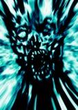 Wrede blauwe zombie hoofddekking stock illustratie
