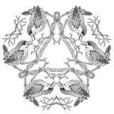 Wren birds on triangle viking mandala black and white vector illustration engraving. Wren birds on triangle viking pagan mandala black and white vector royalty free illustration