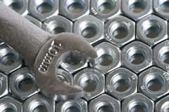 Wrench. And nuts royalty free stock photography