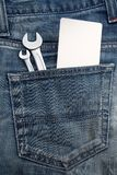 Wrench in the back jeans pocket Royalty Free Stock Photos