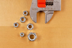 Wrench with Bolt Fasteners Royalty Free Stock Photos