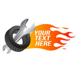 Wrench, car wheel with fire flame. (car service emblem Stock Image