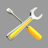 Wrench and chisel. 3D rendering of hand tools including a wrench and a chisel or screwdriver Royalty Free Stock Photo
