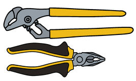 Wrench and combination pliers Royalty Free Stock Photo