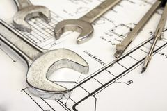 Wrench and compasses Royalty Free Stock Photos