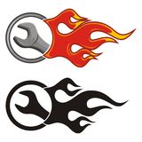 Wrench with fire. Icon on white Stock Photo