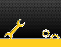 Wrench and gears black industrial background Stock Photos