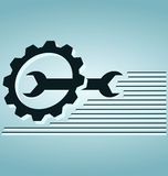 Wrench and gears. Blue icon stock illustration
