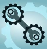 Wrench and gears. Blue tools stock illustration