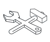 Wrench and hammer linear isometric icon Royalty Free Stock Images