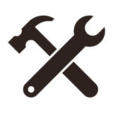 Wrench and hammer. Tools icon Stock Images