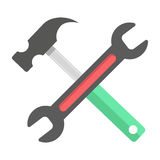 Wrench and hammer on white background. Concept of building and creating. flat design modern vector illustration Royalty Free Stock Photo